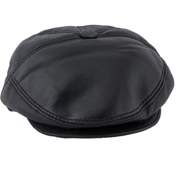 MENS FLAT LEATHER HAT BLACK- M-FLAT CAP-BLK