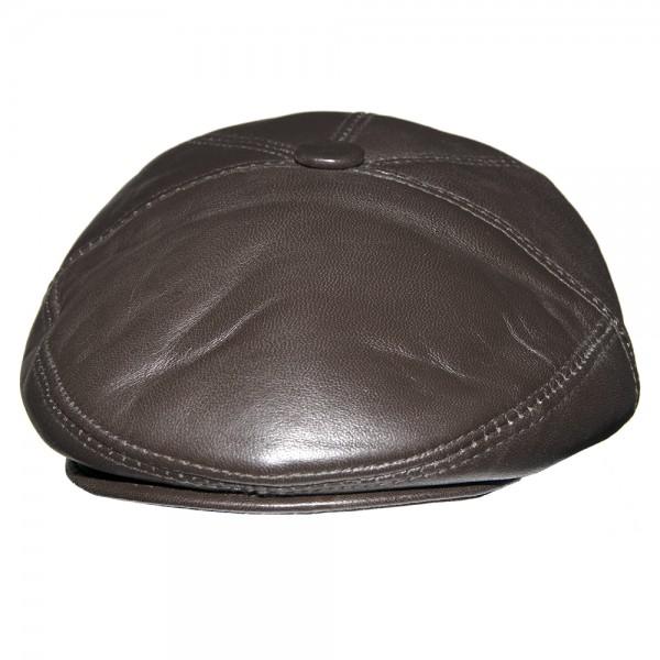 MENS GENUINE LEATHER  flat cap BROWN-M-FLAT CAP-BROWN