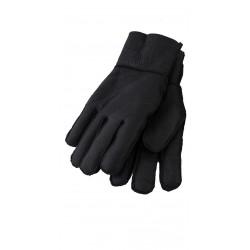 Mens shearling leather gloves black - GLOV-FUR