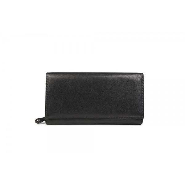 W-1796-BLK Womens genuine leather wallet in black