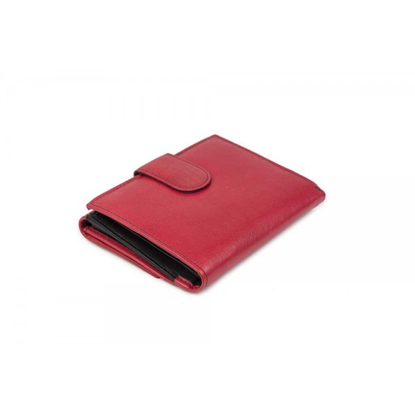 W-7831-RED-BLACK Womens Genuine Leather Wallet Bicolor Red Black