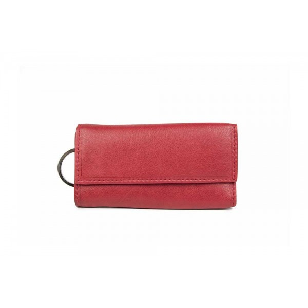 Genuine leather key case for women in red W-1272-RED