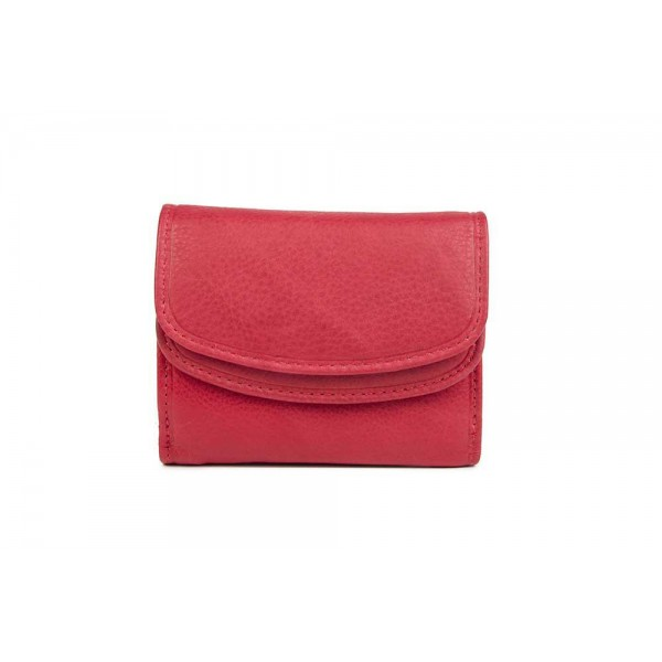 Womens small wallet genuine leather in red-W-A-1636-RED