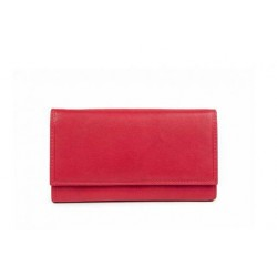 Womens large leather wallet in red-W-A-1793-RE