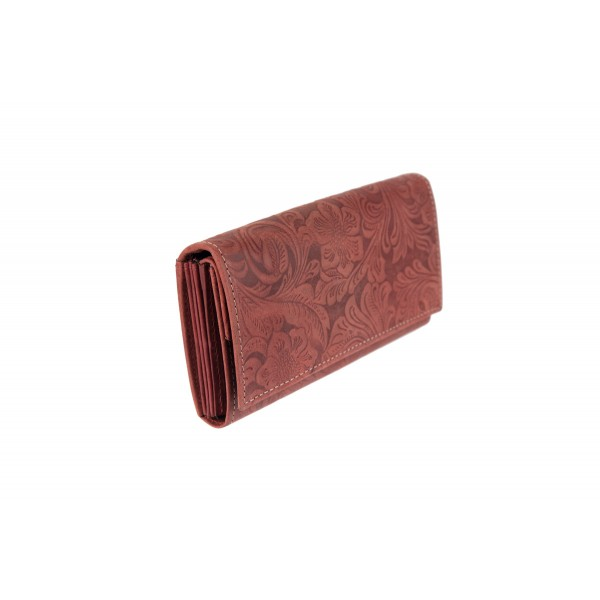 W-10-793 RED FLR Womens genuine leather wallet in floral print design