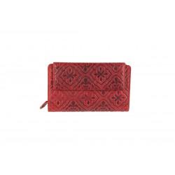 Women's leather wallet red-W-10-855R