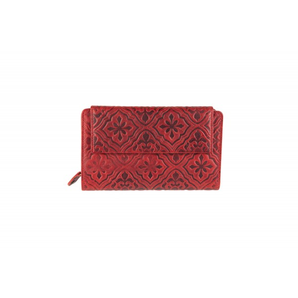 Women's leather wallet red-W-10-855R