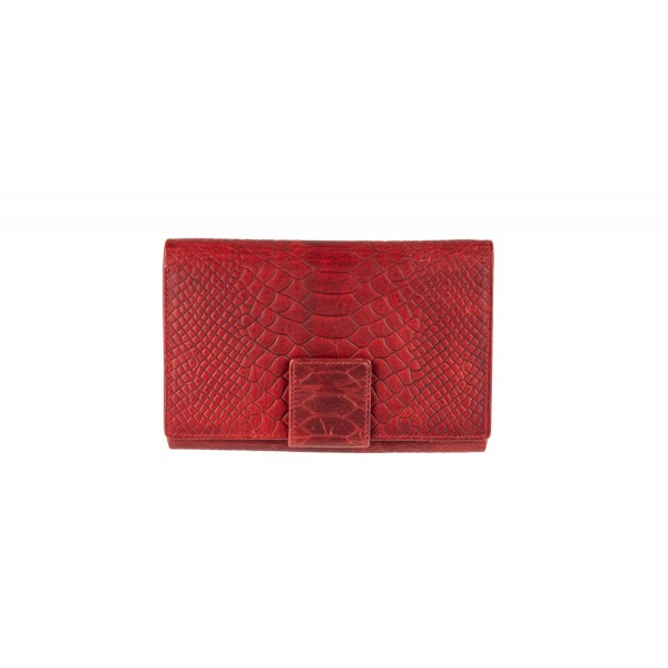 W-10856 CROCO-RED Womens genuine leather wallet in red