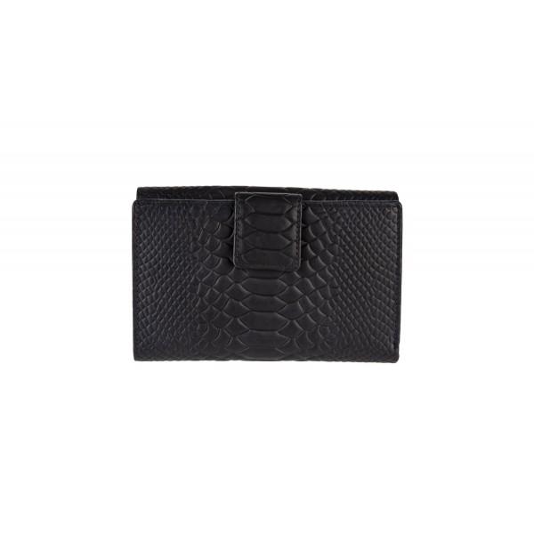 W-10-856-BLK CROCO Womens leather wallet in black