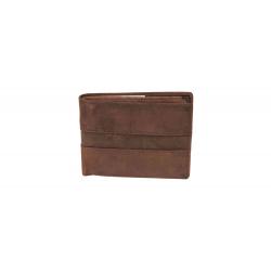M-H-10977 BRWN OIL Mens genuine leather wallet in oil brown