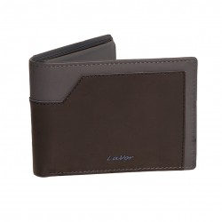 Mens wallet genuine leather nobuk  black with gray in two colors -M-5111-BLK