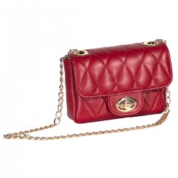Womens genuine leather handbag with chain in red-W-287-RED