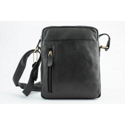MENS LEATHER shoulder BAG- Black -M1326BLK