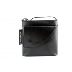 Ladies Leather small crossbody bag in black-W-SML-B52-BLK
