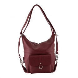 Ladies leather handbag from calf skin in red-W-DE-104-RED