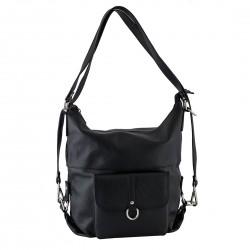 Ladies leather handbag from calf skin in black-W-DE-104-BLK