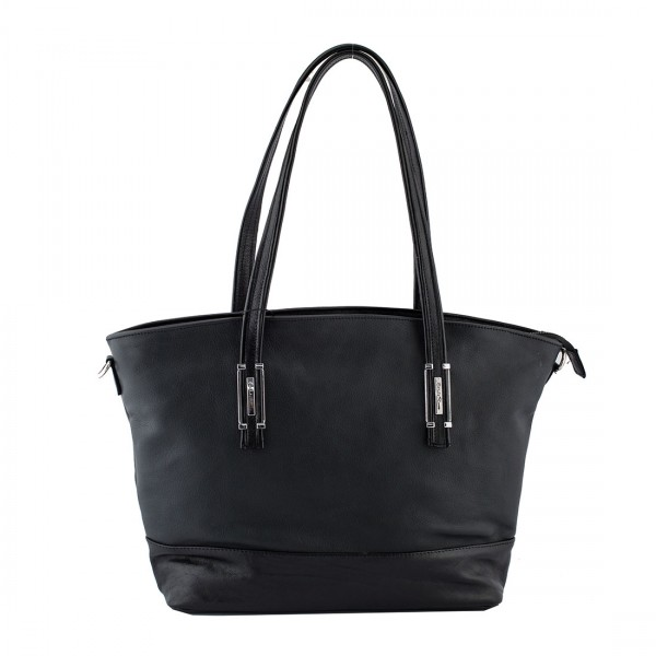 Womens leather cow leather handbag in BLACK-W-2019-P