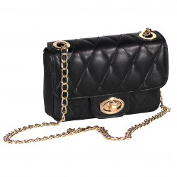 Womens genuine leather bag with chain in black-W-287-BLK