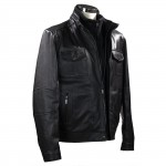 Mens Vintage look black leather  jacket-M-PROZ-CLASIC-BLK