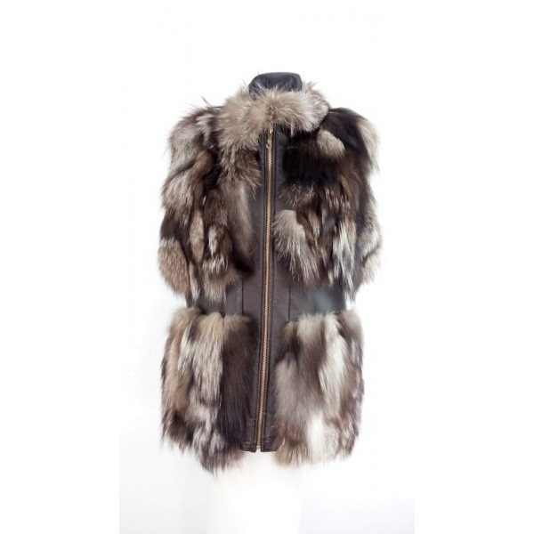 Female  vest made of fox fur and lamb skin- W-VES-FUR-BELT-GREY