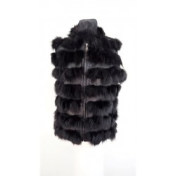 Women's vest with fox fur and lamb leather in black- W-VES-FU-STR B