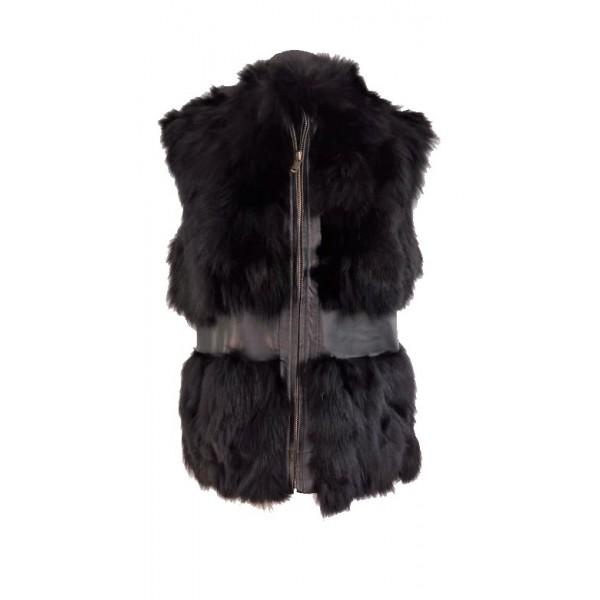 Female vest made of fox fur and lamb skin in black-W-VES-FUR-BELT-BLK
