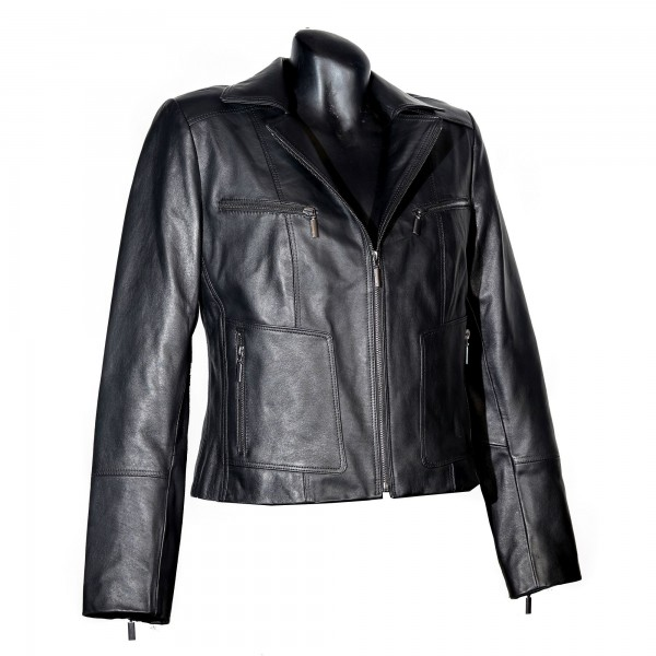 Womens leather jacket black W-9823-BLK