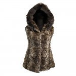 W-LEOPAR-HOOD-Womens sleeveless in natural fur with hood