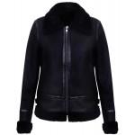 Womens mouton genuine leather black M-OCTAVIA-BLK