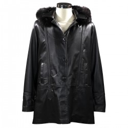 Woman's leather cardigan with hood in black-W-968-BL