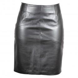 Ladies leather skirt in black-W-SKRT01-BLK