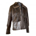 W-205 Vison-leather Womens mink fur jacket with brown leather