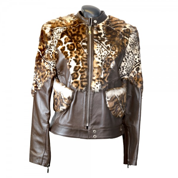 W-KOR FUR BRWN Womens jacket genuine leather with leopard fur