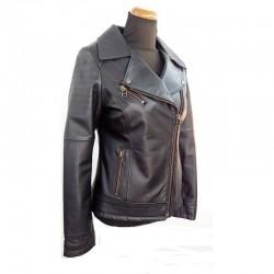 Women's leather jacket perfecto in black-W-VALERIA-blk