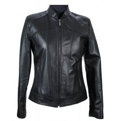 Womαns leather short jacket in black-W-NAOMI-BLK