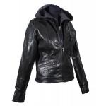 Ladies Black leather short jacket-W-ROXANNE-20