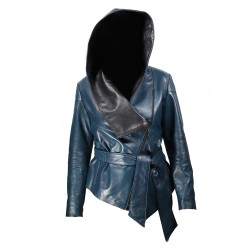 WOMENS LEATHER WITH Hood BLUE WITH BLACK W-TWO-COL-218 blue-blk