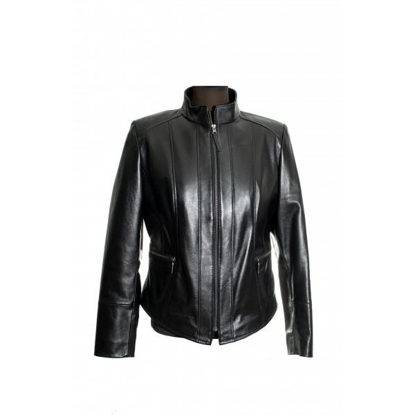 Ladies black short leather jacket-W-FLORANS-BLK