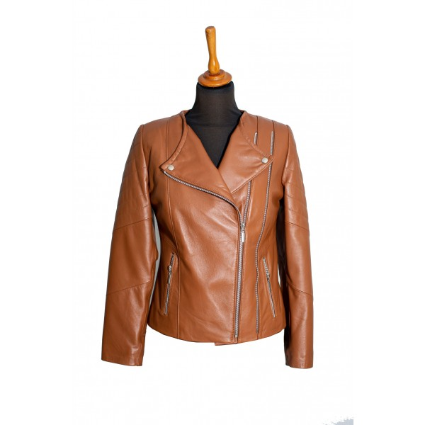 Womens short leather jacket tabac- W-NCL-2ZIP-TABA