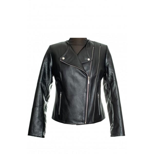 Womens short leather jacket BLACK- NCL-2ZIP-BLK