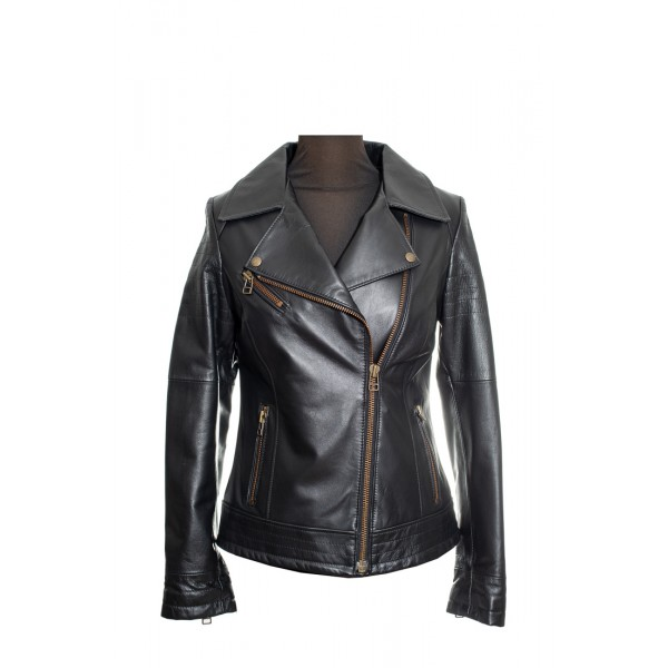 Womens leather jacket perfecto in black-W-VALERIA-blk