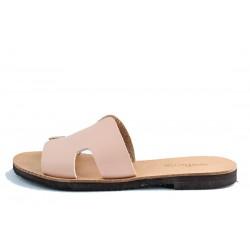 Womens flat slipper in P.U. leather NUDE-W-HER-NUD