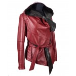 Womens Two-tone Hooded Leather RED BLACK- W-Tania-TWO-COL-218