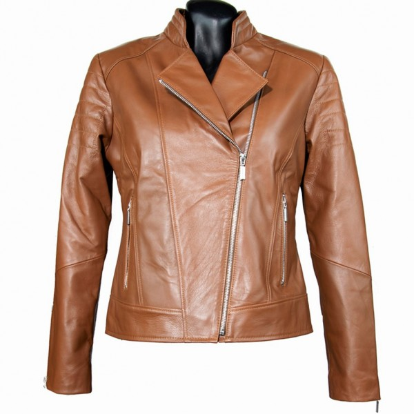 W-GIN-102-Perfecto-TABA -Womens leather short perfect jacket in tan