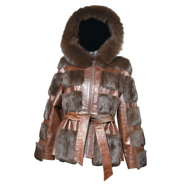 W-184-FUR-LEATHER-BRWN Womens jacket genuine leather fur in brown