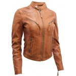 Short ladies jacket in wax lamb leather in cognac-W-2131-TAB